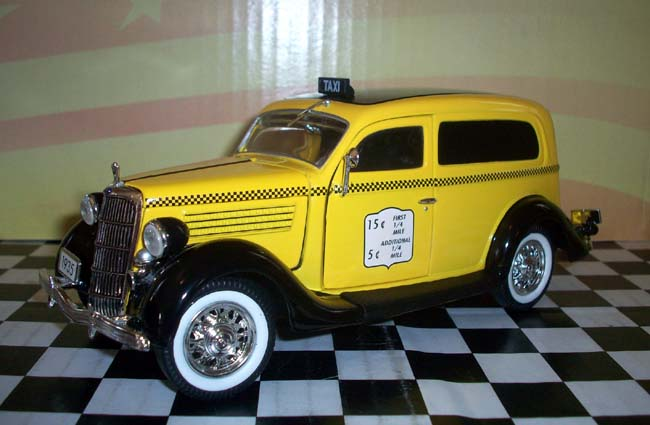 What Is A Sedan >> PhillyMint Unique 1935 Ford Sedan Delivery - Taxi Cab Yellow 1:24 diecast model